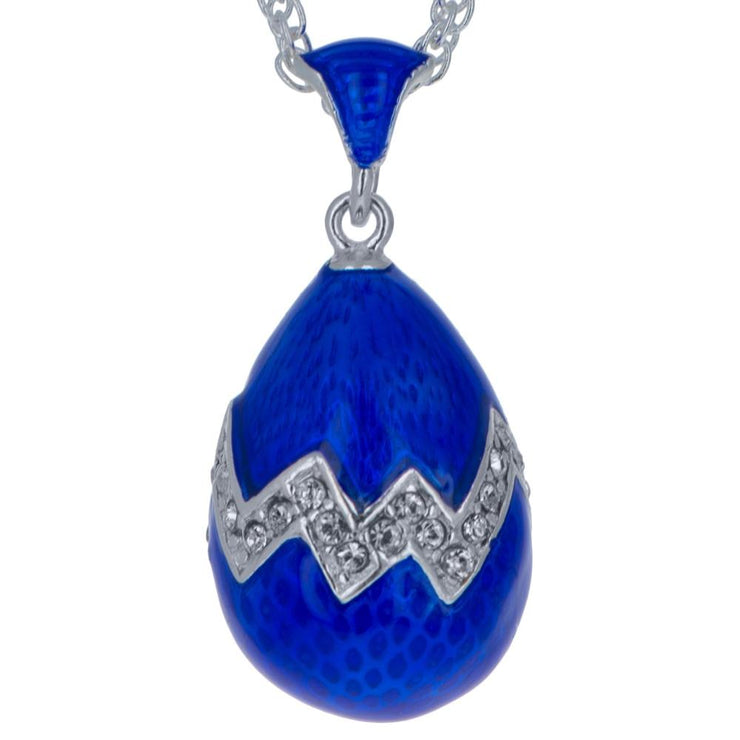 Buy Online Gift Shop Blue Enamel 35 Crystals Brass Royal Egg Pendant Necklace 20 Inches