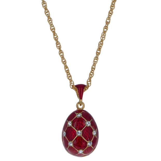 18 Crystals Red Enamel Brass Royal Egg Pendant Necklace 20 Inches by BestPysanky