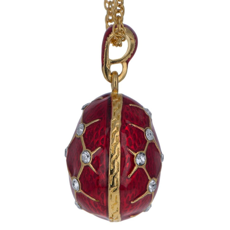 Buy Online Gift Shop 18 Crystals Red Enamel Brass Royal Egg Pendant Necklace 20 Inches