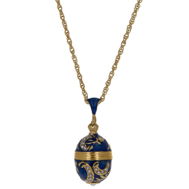 Blue Enamel 30 Crystals Brass Royal Egg Pendant Necklace 20 Inches by BestPysanky