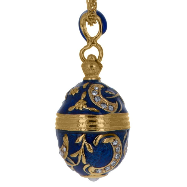 Blue Enamel 30 Crystals Brass Royal Egg Pendant Necklace 20 Inches