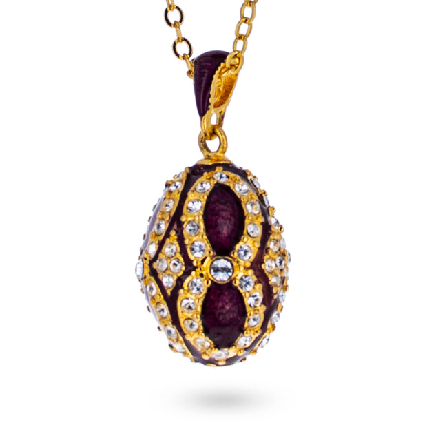 Crystals on Purple Royal Egg Pendant Necklace 20 Inches
