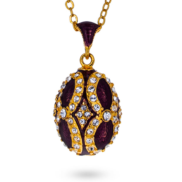 Buy Online Gift Shop Crystals on Purple Royal Egg Pendant Necklace 20 Inches