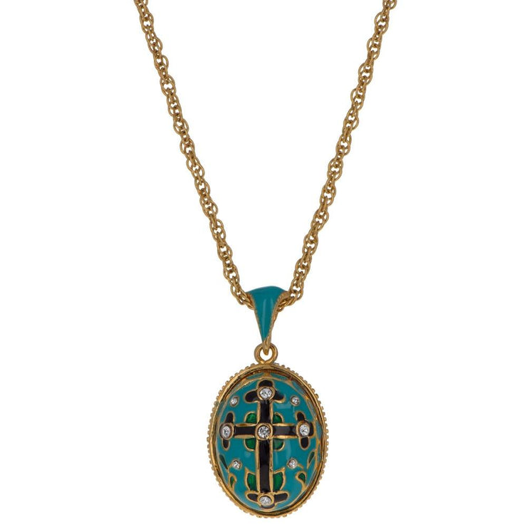 Turquoise Enamel Black Cross Royal Egg Pendant Necklace 20 Inches by BestPysanky