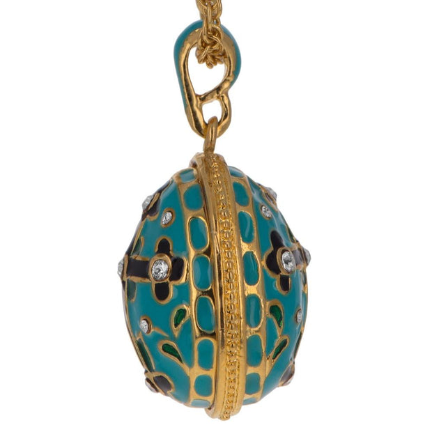 Turquoise Enamel Black Cross Royal Egg Pendant Necklace 20 Inches