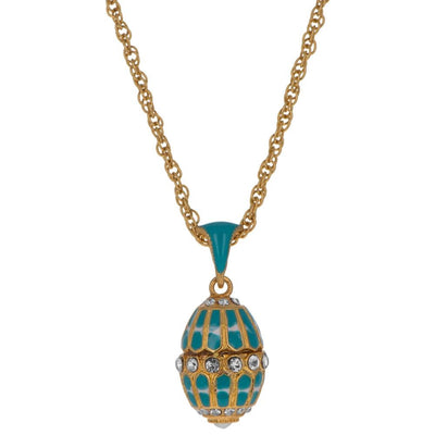 Aquamarine Enamel Royal Egg Pendant Necklace 20 Inches by BestPysanky