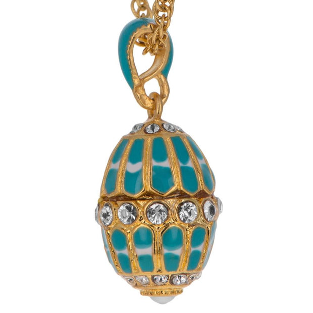 Buy Online Gift Shop Aquamarine Enamel Royal Egg Pendant Necklace 20 Inches