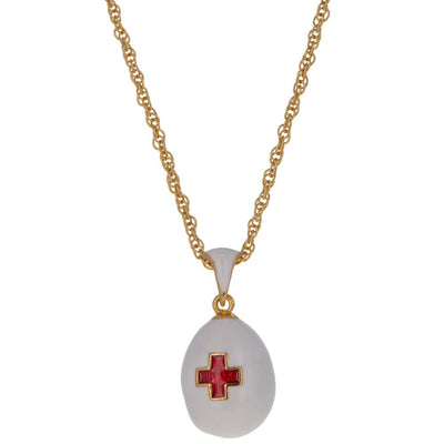 White Enamel Red Cross Royal Egg Pendant Necklace 20 Inches by BestPysanky