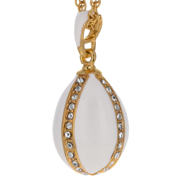 Buy Online Gift Shop White Enamel Royal Egg Pendant Necklace 20 Inches