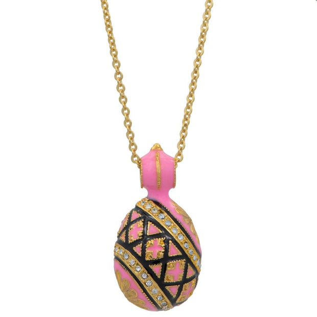 Pink Enameled Royal Egg Pendant Necklace 20 Inches by BestPysanky