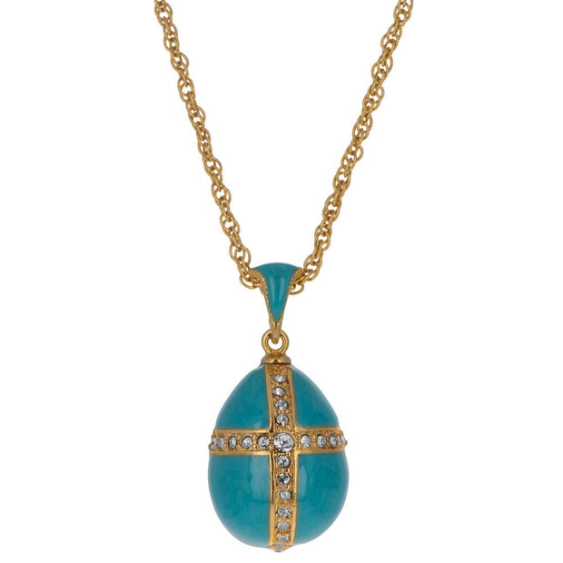 Turquoise Crystal Cross Royal Egg Pendant Necklace 20 Inches by BestPysanky