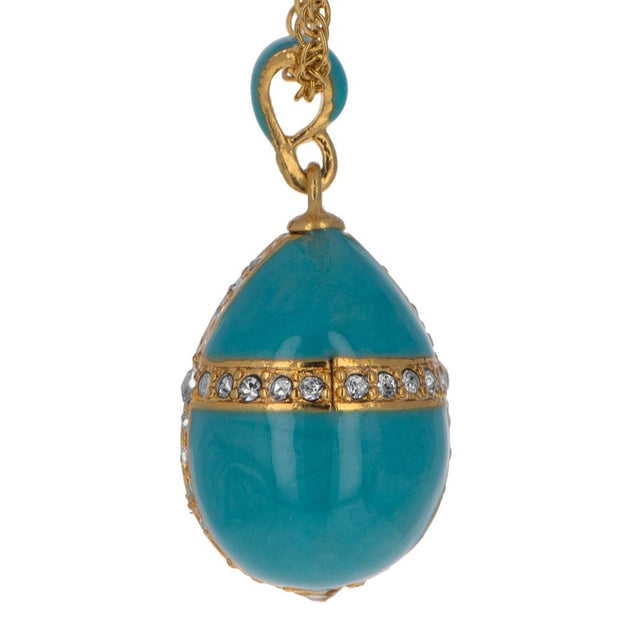 Turquoise Crystal Cross Royal Egg Pendant Necklace 20 Inches