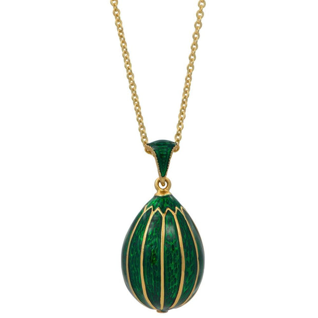 Green Enamel Striped Royal Egg Pendant Necklace 20 Inches by BestPysanky