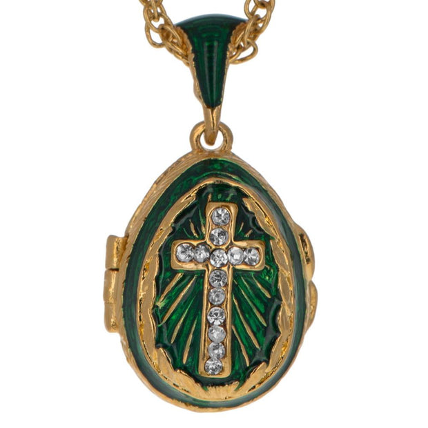 Green Enamel Crystal Cross Royal Egg Pendant Necklace 20 Inches