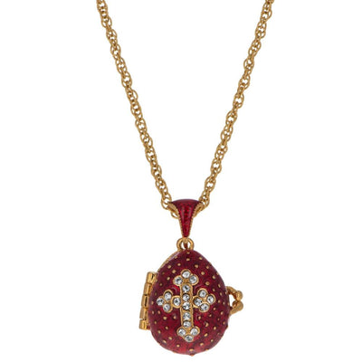 Red Enamel Crystal Cross with Heart Charm Royal Egg Pendant Necklace 20 Inches by BestPysanky