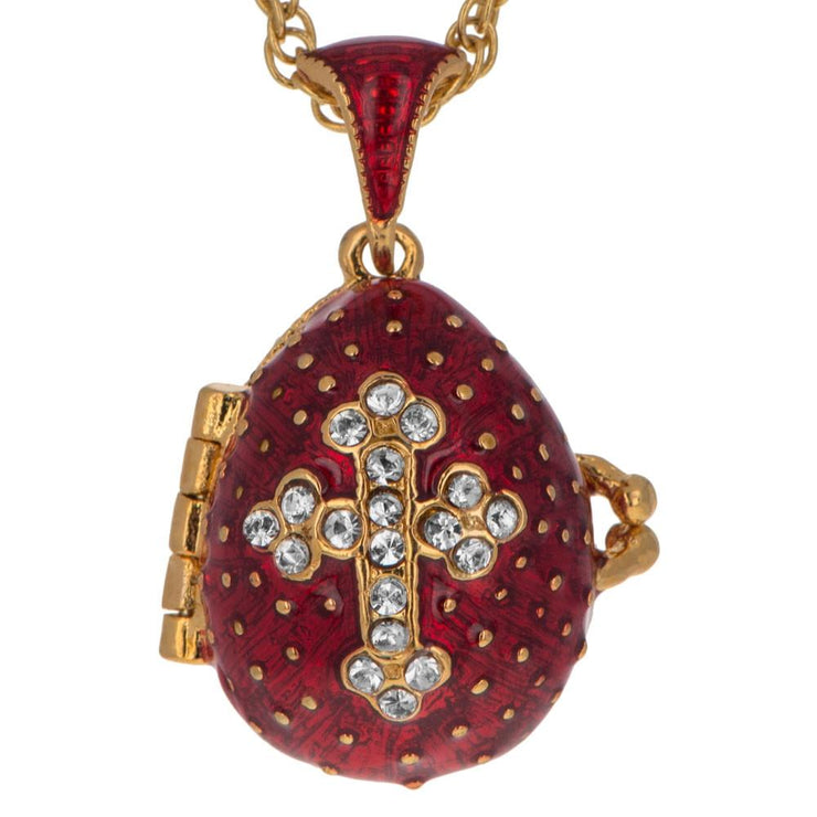 Buy Online Gift Shop Red Enamel Crystal Cross with Heart Charm Royal Egg Pendant Necklace 20 Inches