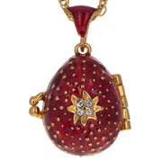 Red Enamel Crystal Cross with Heart Charm Royal Egg Pendant Necklace 20 Inches