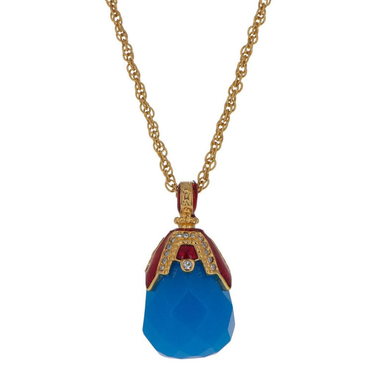 Blue Raindrop Crystal Royal Egg Pendant Necklace 20 Inches by BestPysanky