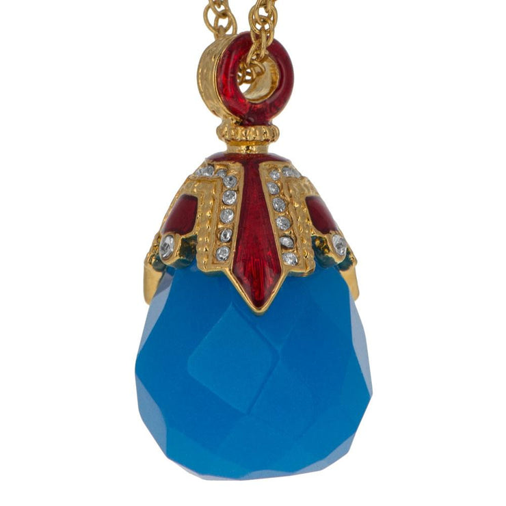 Buy Online Gift Shop Blue Raindrop Crystal Royal Egg Pendant Necklace 20 Inches