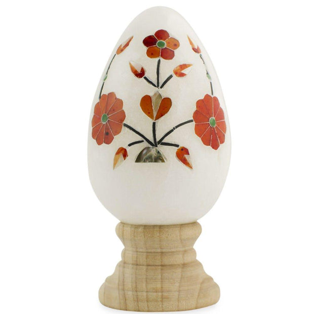 Hand Carved and Inlaid Flowers Gemstone Easter Egg by BestPysanky
