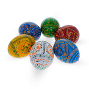 Set of 6 Geometric Ukrainian Pysanky Wooden Easter Eggs 2.25 Inches