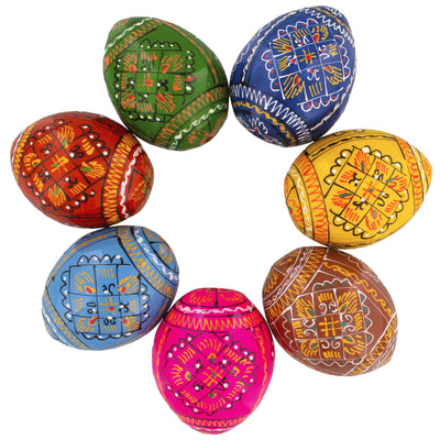 7 Geometric Ukrainian Wooden Easter Eggs Pysanky by BestPysanky