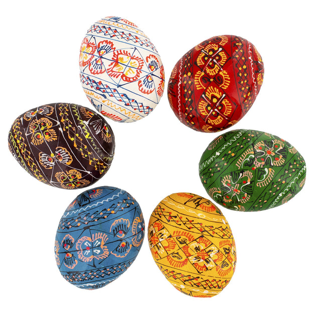 Set of 6 Wooden Ukrainian Easter Eggs by BestPysanky