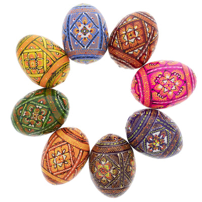 Set of 8 Wooden Ukrainian Easter Eggs by BestPysanky