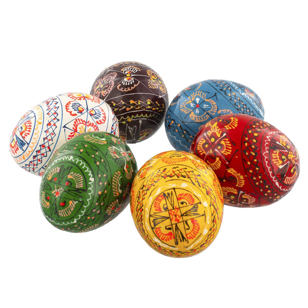 Buy Online Gift Shop Set of 6 Wooden Ukrainian Easter Eggs