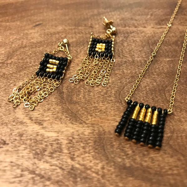 Sidai Designs black beaded earring and necklace