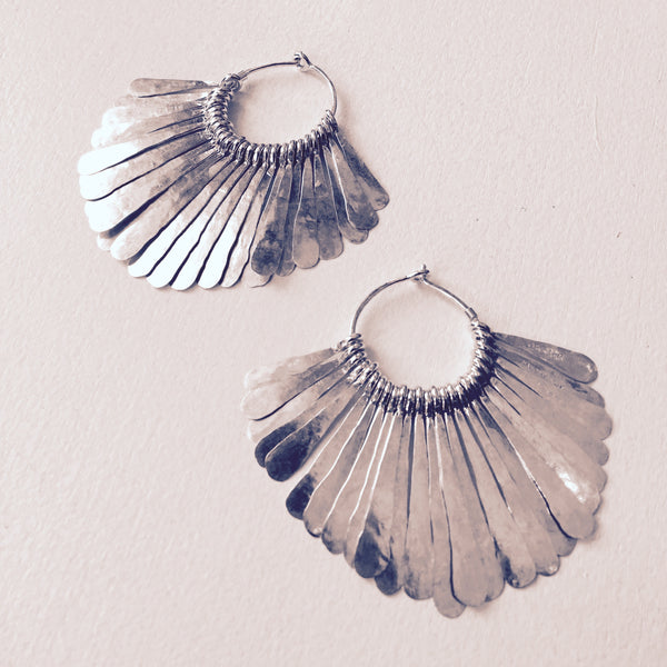 Megan Stelzer silver hammered hoops