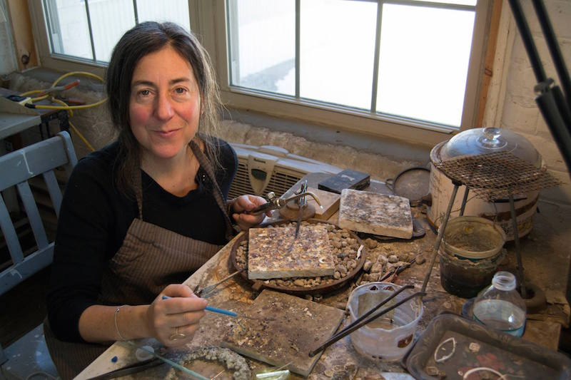 Emily Rosenfeld at her work bench