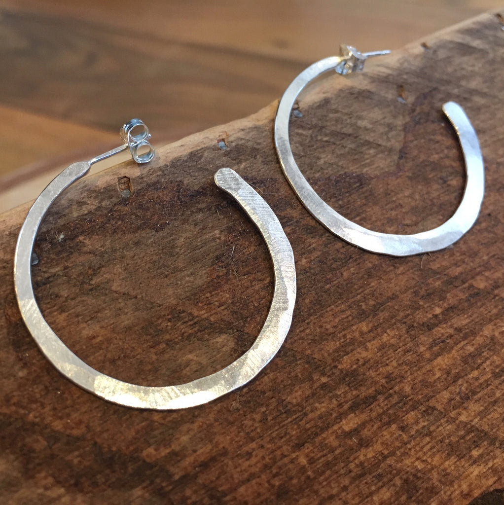 Little Cat Metals silver hammered hoop earrings