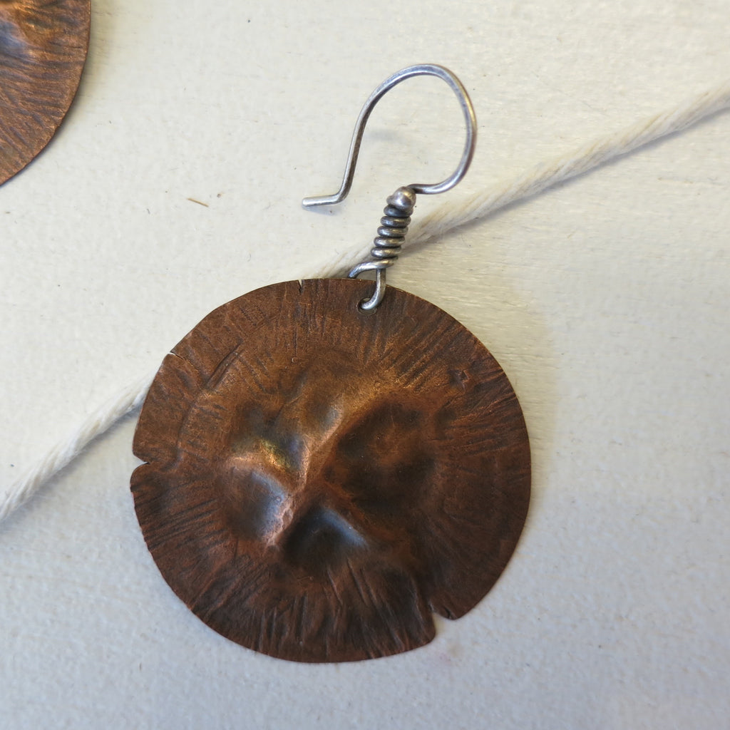 Megan Stelzer Medallion Earrings Copper