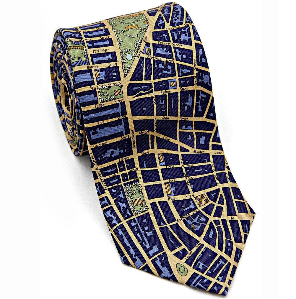 Josh Back 100% silk necktie | New York City map