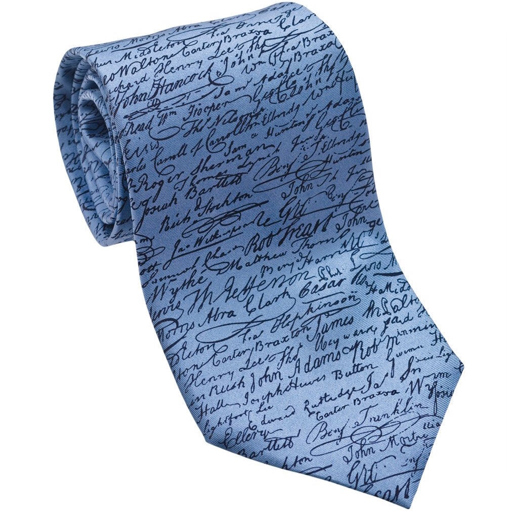 Josh Back 100% silk necktie | Signatures of Declaration of Independence
