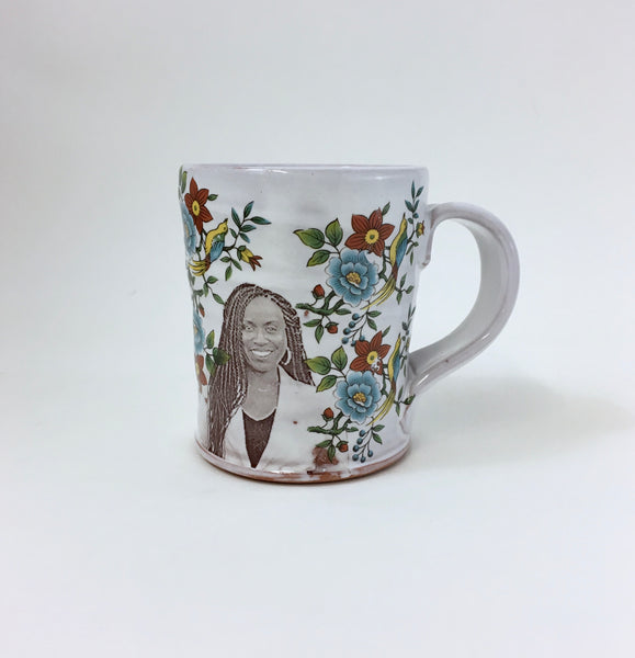 Ayanna Pressley Mug with Flowers by Justin Rothshank