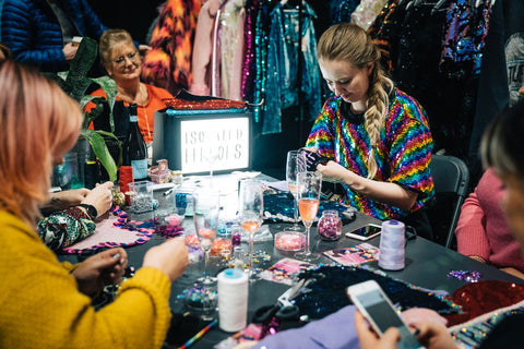 Hand sequin workshop with Isolated Heroes