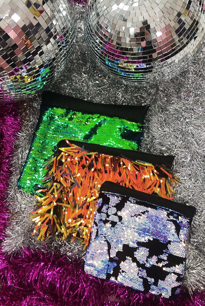 Flaming Fire Sequin Clutch Bag