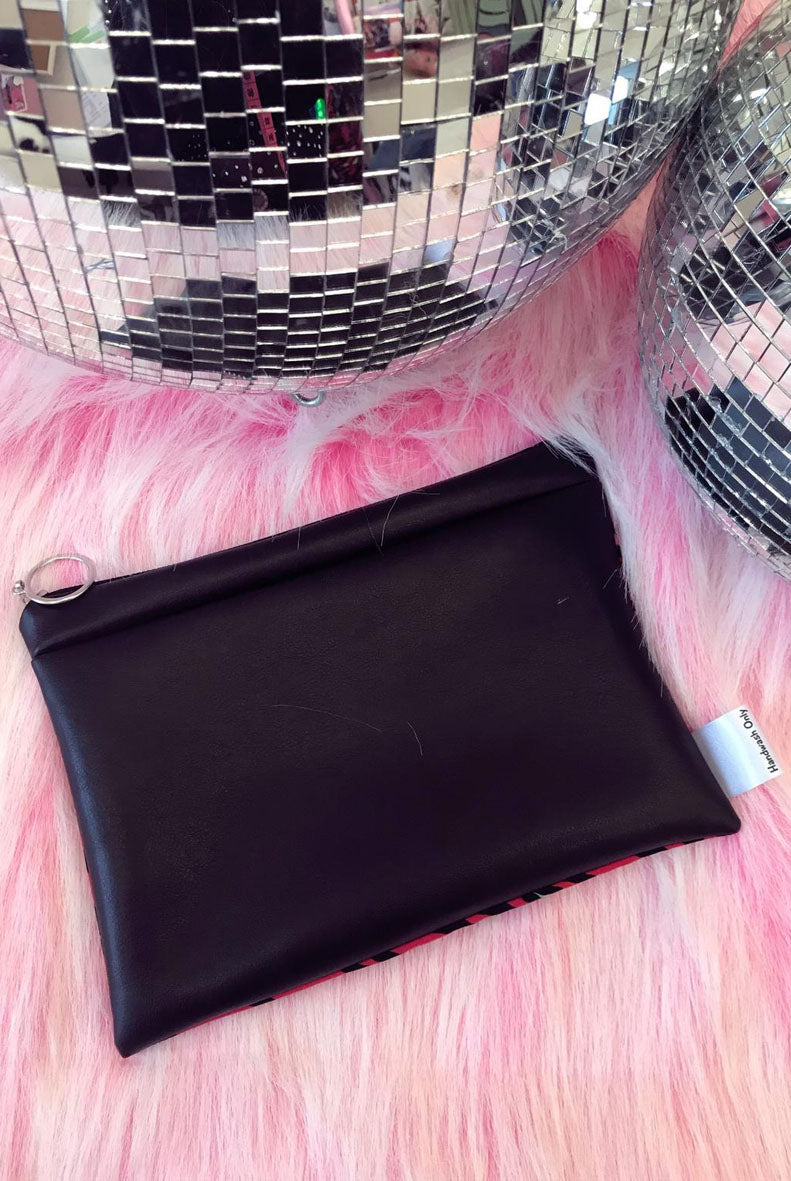 Pink Sequin Leather Lined Clutch Bag