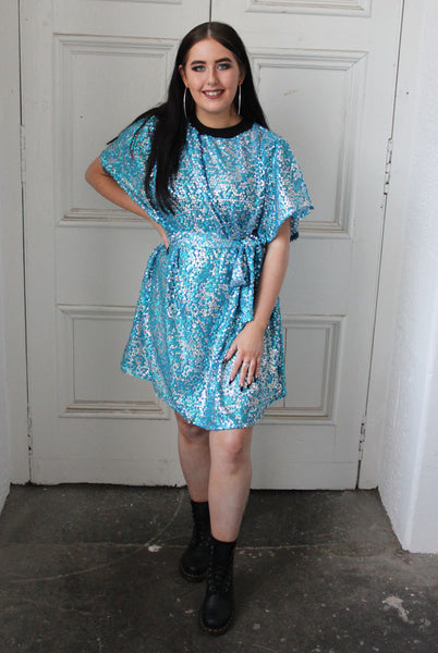 Aqua Sequin T-shirt Dress