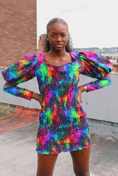 Art Attack Shirred Mini Dress