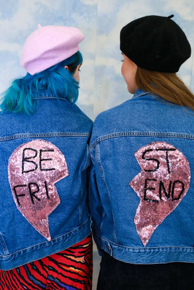 BESTIE Sequin Denim Jacket Set