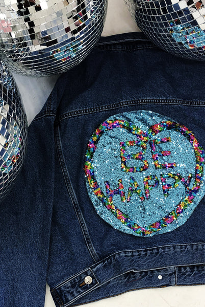 BE HAPPY Sequin Denim