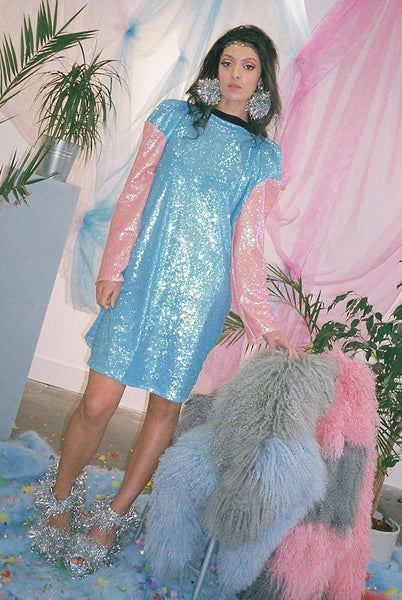 Baby Blue Pastel Sequin Baseball Dress