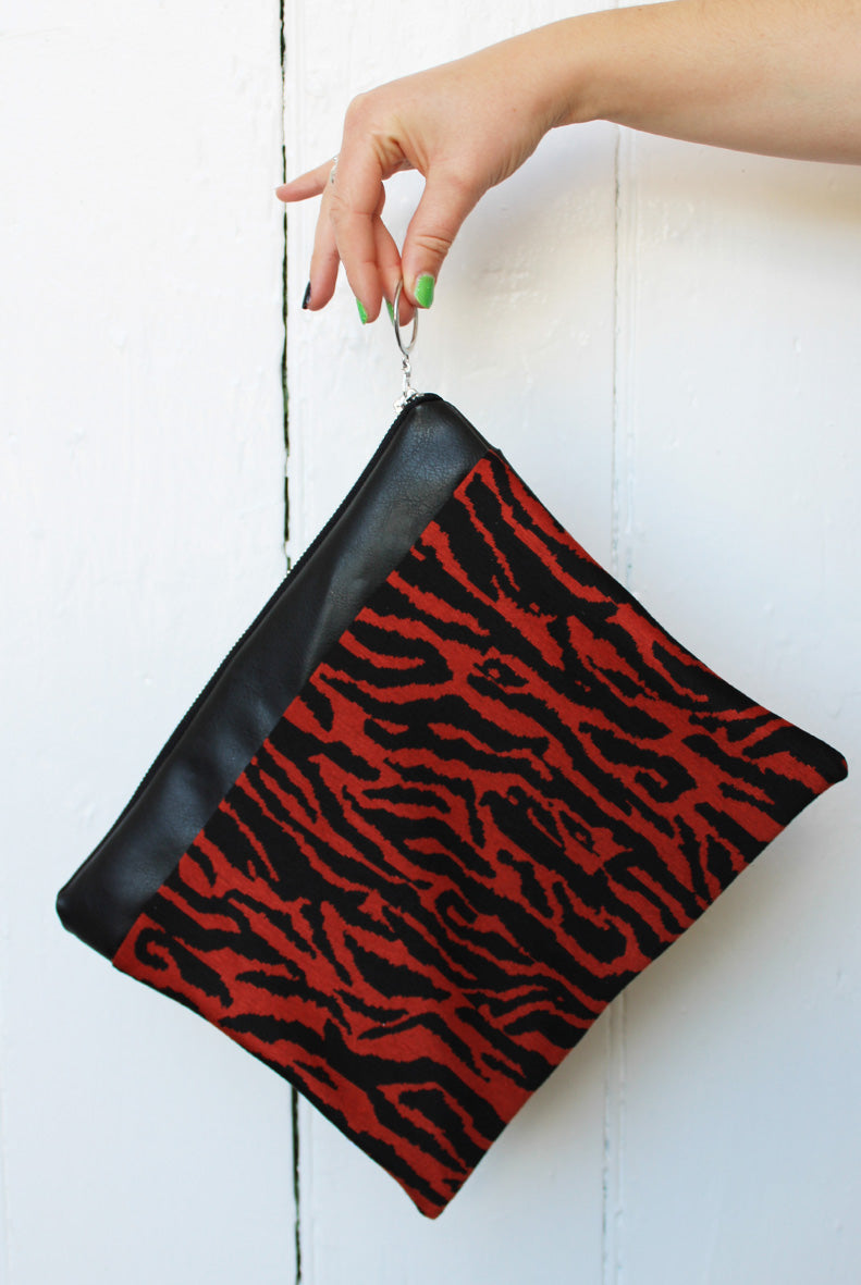 Burnt Orange Zebra #ZeroWaste Clutch Bag