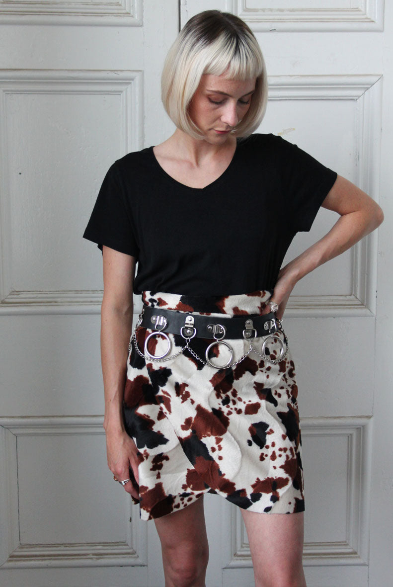 Cow Print Wrap Skirt