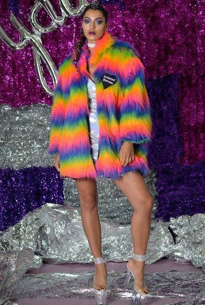 Fan Girl Rainbow Faux Fur Midi