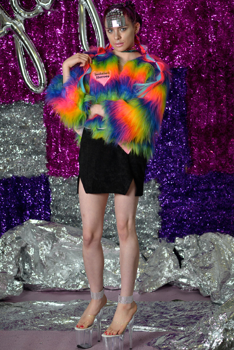 Fan Girl Rainbow Faux Fur Mini