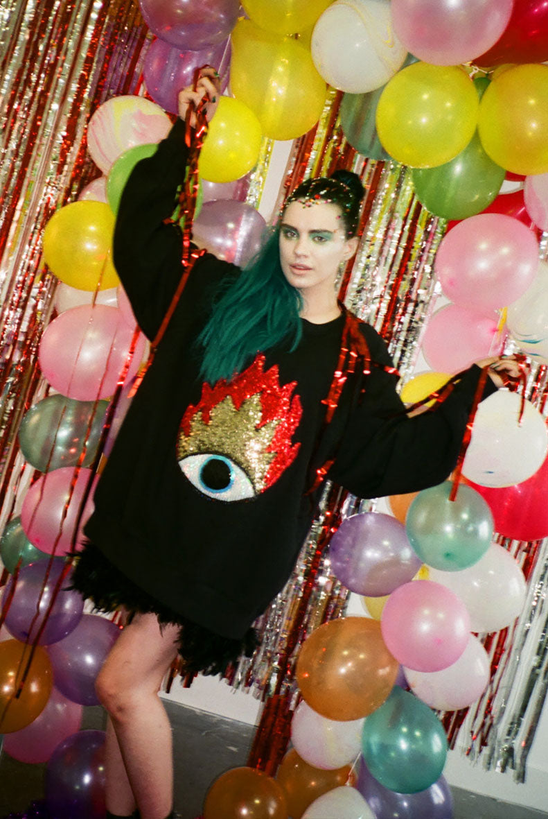 Flaming Eye Sequin Sweater